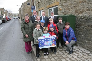 Pictured are (behind): Simon Roverson of BT, Phil Jackman, Head of ICT for Durham County Council, and Derek Richardson, NGA Project Manager. Pictured in front, from St. John's Chapel Primary School are Mrs. Sue Shaw, Lily Bousfield, Rowan Grieves-Bubb, George Jamieson, Kersha Cottrill, Jack Heslop, Dylan Scott , Amelia Pagan-Lever and Mrs. Anne Oliphant.