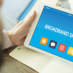 Tablet prompting user to check broadband speed